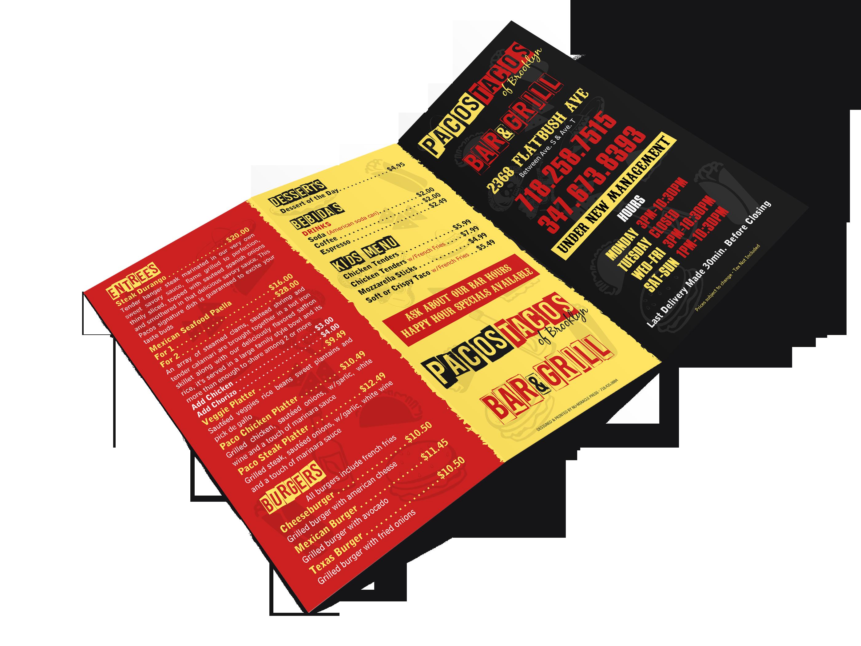 menu printing brooklyn